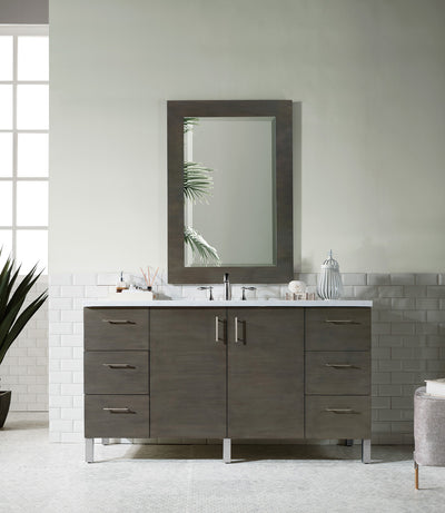 James Martin 850-V60S-SOK-4BLK Metropolitan 60 Inch Silver Oak Single Vanity with Absolute Black Rustic Stone Top