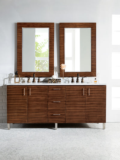 James Martin 850-V72-AWT-3CAR Metropolitan 72 Inch American Walnut Double Vanity with 3 CM Carrara Marble Top