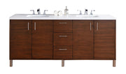 James Martin 850-V72-AWT-3SHG Metropolitan 72 Inch American Walnut Double Vanity with Shadow Gray Quartz Top