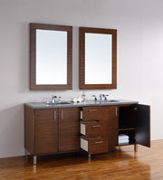 James Martin 850-V72-AWT-4CAR Metropolitan 72 Inch American Walnut Double Vanity with Carrara White Stone Top