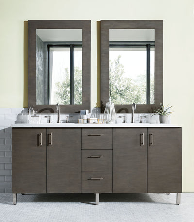 James Martin 850-V72-SOK-3AF Metropolitan 72 Inch Silver Oak Double Vanity with 3 CM Arctic Fall Solid Surface Top