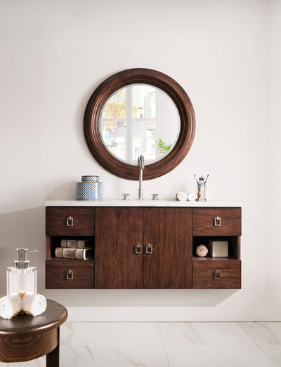 James Martin 860-V48-CFO-4CAR Sonoma 48 Inch Single Vanity in Coffee Oak with 4 CM Carrara White Marble Top