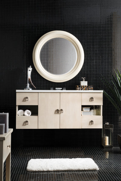 James Martin 860-V48-VNO-4CAR Sonoma 48 Inch Single Vanity in Vanilla Oak with 4 CM Carrara White Marble Top