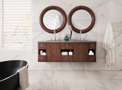 James Martin 860-V60D-CFO-4CAR Sonoma 60 Inch Double Vanity in Coffee Oak with 4 CM Carrara White Marble Top