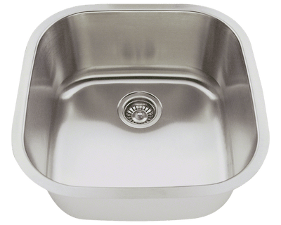 THE POLARIS P0202-16 STAINLESS STEEL SINK IN BRUSHED SATIN