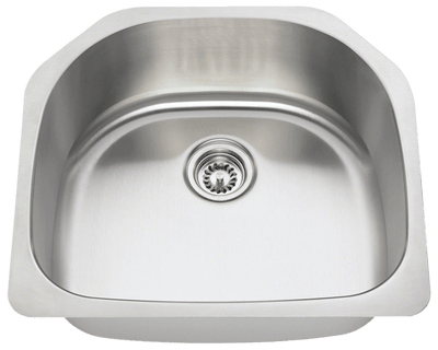 THE POLARIS P1242-16 D-BOWL STAINLESS STEEL KITCHEN SINK IN BRUSHED SATIN
