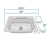 POLARIS PT0301US-ENS KITCHEN ENSEMBLE (SINK AND STANDARD STRAINER)