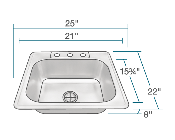 POLARIS PT8301US-ENS KITCHEN ENSEMBLE (SINK AND STANDARD STRAINER)