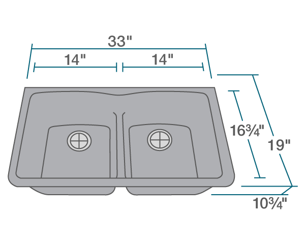 POLARIS P218S DOUBLE EQUAL BOWL LOW-DIVIDE UNDERMOUNT ASTRA GRANITE SINK IN SILVER MATTE