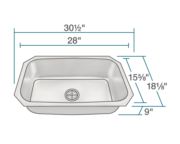 POLARIS P0301US-ENS KITCHEN ENSEMBLE (SINK AND STANDARD STRAINER)