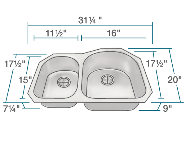 POLARIS PR1301US-ENS 18 GAUGE KITCHEN ENSEMBLE (SINK AND 2 STANDARD STRAINERS)