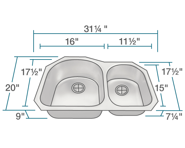 POLARIS PL1301US-ENS 18 GAUGE KITCHEN ENSEMBLE (SINK AND 2 STANDARD STRAINERS)