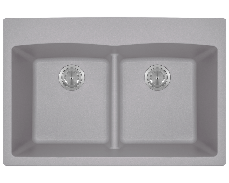 POLARIS P218TS DOUBLE EQUAL BOWL LOW-DIVIDE TOPMOUNT ASTRA GRANITE SINK IN SILVER MATTE
