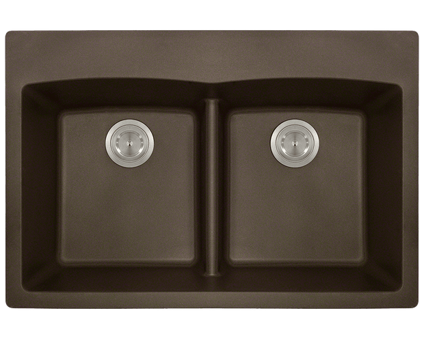 POLARIS P218TM DOUBLE EQUAL BOWL LOW-DIVIDE TOPMOUNT ASTRA GRANITE SINK IN MOCHA MATTE