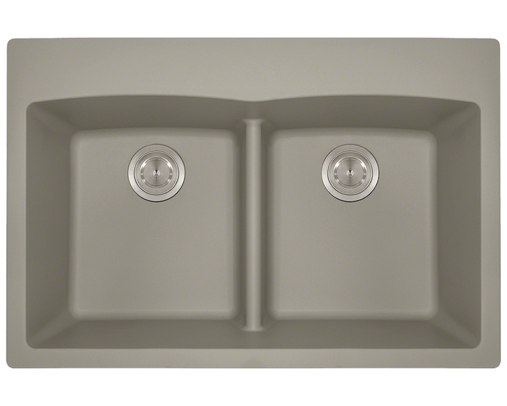 POLARIS P218TST DOUBLE EQUAL BOWL LOW-DIVIDE TOPMOUNT ASTRA GRANITE SINK IN SLATE MATTE