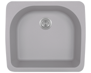 POLARIS P428TS D-SHAPE SINGLE BOWL TOPMOUNT ASTRA GRANITE KITCHEN SINK IN SILVER MATTE