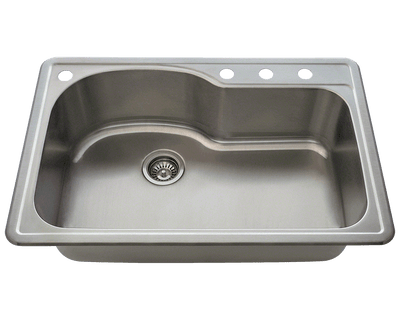POLARIS P643T 18 GAUGE SINGLE BOWL TOPMOUNT STAINLESS STEEL KITCHEN SINK IN BRUSHED SATIN