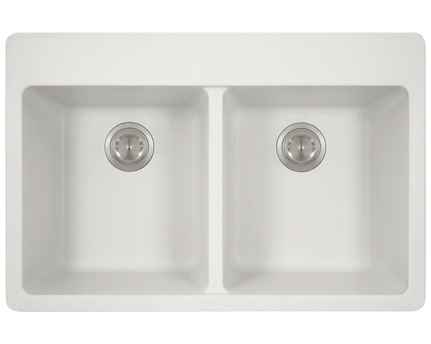 POLARIS P208TW DOUBLE EQUAL BOWL TOPMOUNT ASTRA GRANITE KITCHEN SINK IN WHITE MATTE