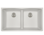 POLARIS P218W DOUBLE EQUAL BOWL LOW-DIVIDE UNDERMOUNT ASTRA GRANITE SINK IN WHITE MATTE
