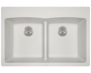 POLARIS P218TW DOUBLE EQUAL BOWL LOW-DIVIDE TOPMOUNT ASTRA GRANITE SINK IN WHITE MATTE