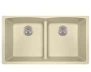 POLARIS P218BE DOUBLE EQUAL BOWL LOW-DIVIDE UNDERMOUNT ASTRA GRANITE SINK IN BEIGE MATTE