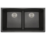POLARIS P218BL DOUBLE EQUAL BOWL LOW-DIVIDE UNDERMOUNT ASTRA GRANITE SINK IN BLACK MATTE
