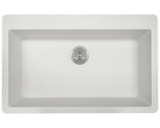 POLARIS P848TW LARGE SINGLE BOWL TOPMOUNT ASTRA GRANITE KITCHEN SINK IN WHITE MATTE