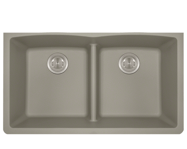POLARIS P218ST DOUBLE EQUAL BOWL LOW-DIVIDE UNDERMOUNT ASTRA GRANITE SINK IN SLATE MATTE