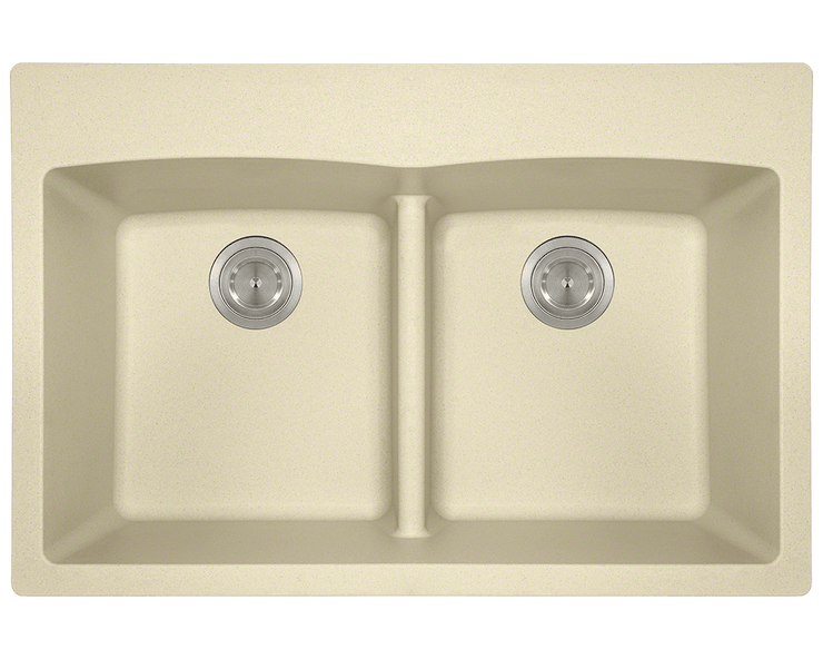 POLARIS P218TBE DOUBLE EQUAL BOWL LOW-DIVIDE TOPMOUNT ASTRA GRANITE SINK IN BEIGE MATTE