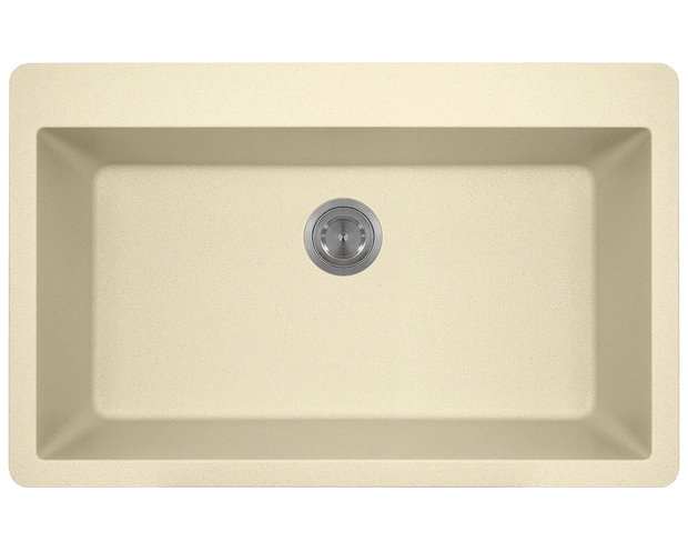 POLARIS P848TBE LARGE SINGLE BOWL TOPMOUNT ASTRA GRANITE KITCHEN SINK IN BEIGE MATTE