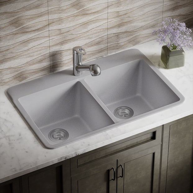 POLARIS P208TS DOUBLE EQUAL BOWL TOPMOUNT ASTRA GRANITE KITCHEN SINK IN SILVER MATTE