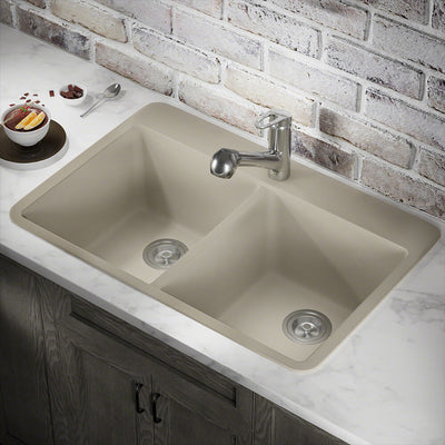 POLARIS P208TST DOUBLE EQUAL BOWL TOPMOUNT ASTRA GRANITE KITCHEN SINK IN SLATE MATTE
