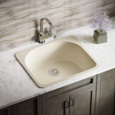 POLARIS P428TBE D-SHAPE SINGLE BOWL TOPMOUNT ASTRA GRANITE KITCHEN SINK IN BEIGE MATTE