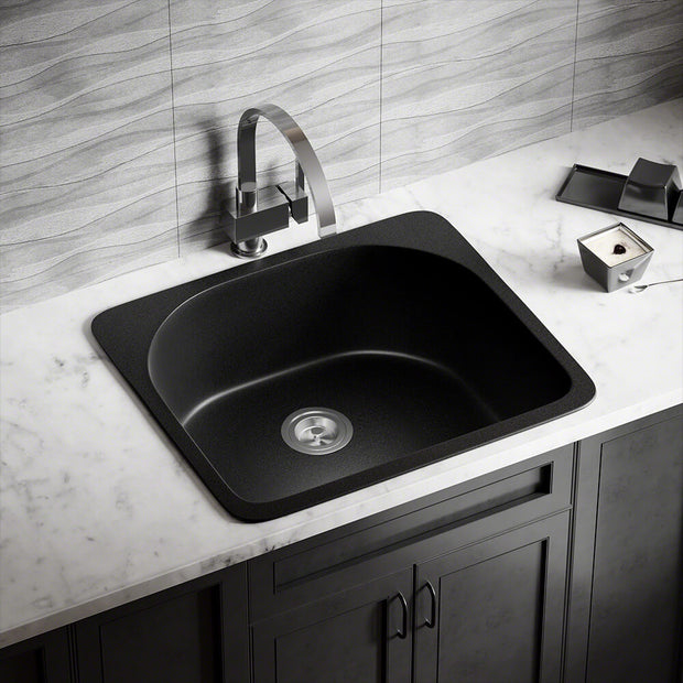 POLARIS P428TBL D-SHAPE SINGLE BOWL TOPMOUNT ASTRA GRANITE KITCHEN SINK IN BLACK MATTE