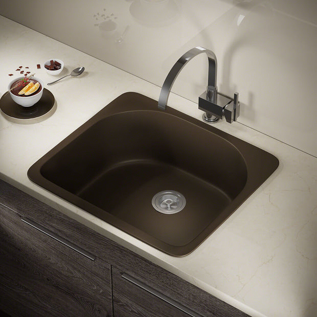 POLARIS P428TM D-SHAPE SINGLE BOWL TOPMOUNT ASTRA GRANITE KITCHEN SINK IN MOCHA MATTE