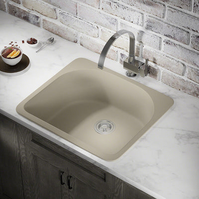 POLARIS P428TST D-SHAPE SINGLE BOWL TOPMOUNT ASTRA GRANITE KITCHEN SINK IN SLATE MATTE