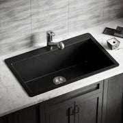 POLARIS P848TBL LARGE SINGLE BOWL TOPMOUNT ASTRA GRANITE KITCHEN SINK IN BLACK MATTE
