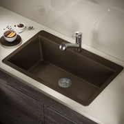 POLARIS P848TM LARGE SINGLE BOWL TOPMOUNT ASTRA GRANITE KITCHEN SINK IN MOCHA MATTE