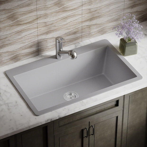 POLARIS P848TS LARGE SINGLE BOWL TOPMOUNT ASTRA GRANITE KITCHEN SINK IN SILVER MATTE