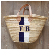 Double Stripe French Market Basket