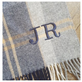 Navy and Grey Tartan Luxury Lambswool Wrap