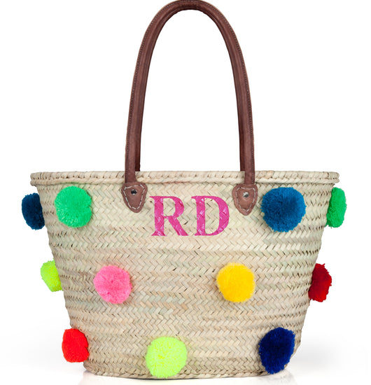 Personalised Multi Colour PomPom Basket