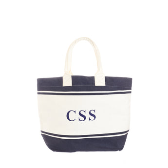 Navy & White Canvas Tote