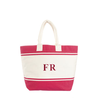 Fuschia & White Canvas Tote