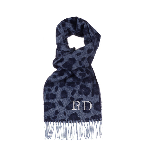 Blue Leopard Luxury Lambswool Scarf