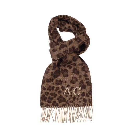 Brown Leopard Luxury Lambswool Scarf
