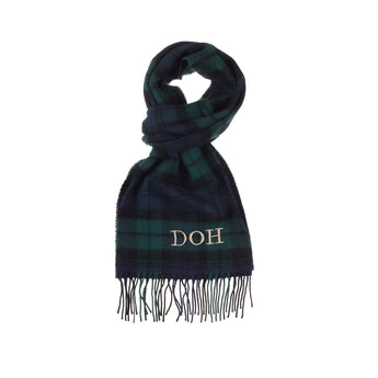 Navy and Green Tartan Luxury Lambswool Scarf