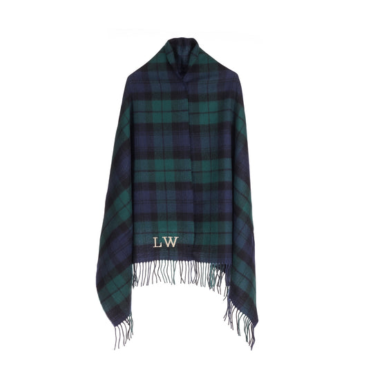 Navy and Green Tartan Luxury Lambswool Wrap