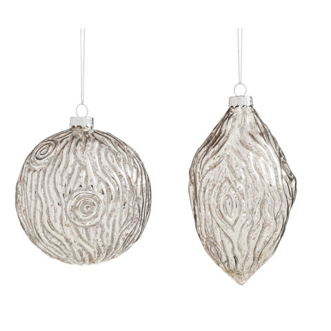 Soiree Bark Mercury Glass Ball Ornament