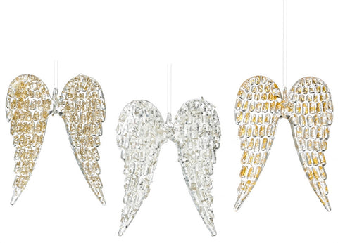 Angelic Wing Glass Ornament